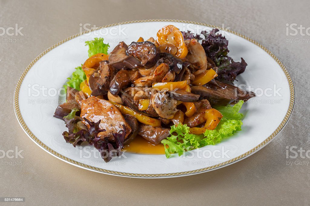 Stewed mushrooms stock photo