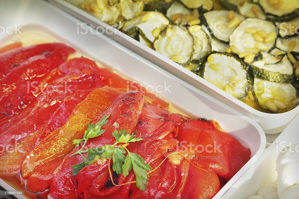 Stewed peppers and zucchini stock photo