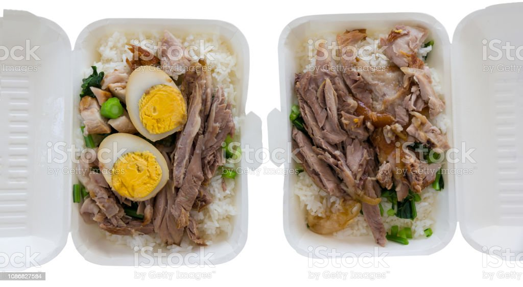 stewed pork leg on rice stock photo