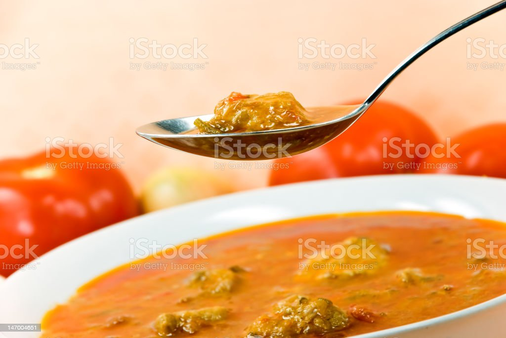 stew-goulash soup -with  bell pepper and cubes of meat royalty-free stock photo