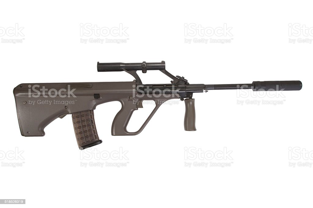 Steyer Aug Assault Rifle With Silencer Stock Photo More Pictures