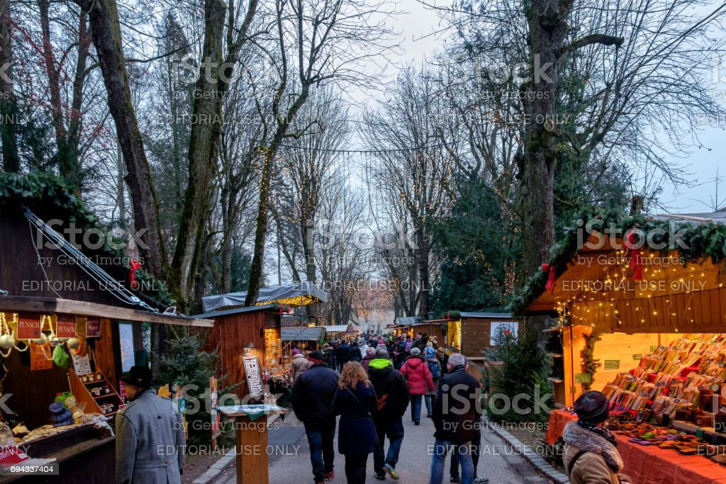 Steyr at Christmas, the Promenade - Austria stock photo