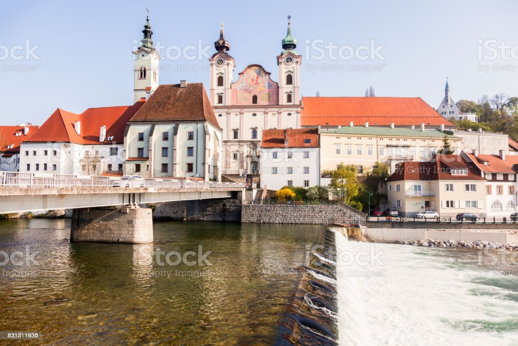 Steyr panorama with St. Michael's Church stock photo