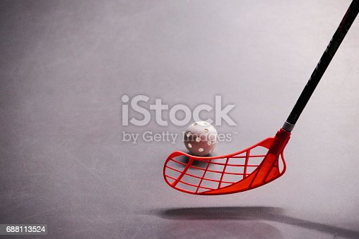 istock Stick and ball games in floorball. 688113524