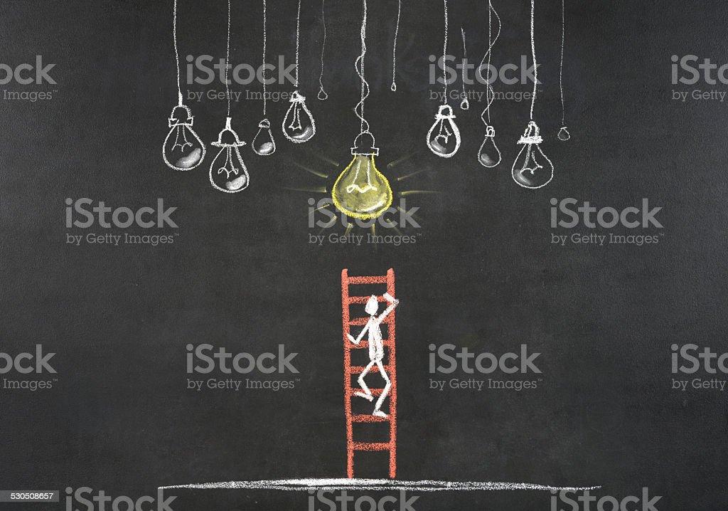 Stick Figure Climbing Ladder Of Success stock photo