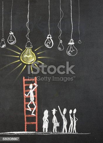 istock Stick Figure Climbing Ladder Of Success 530508667