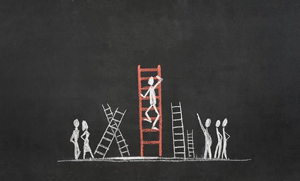 Figura de Palito subindo A Escada do Sucesso - foto de acervo