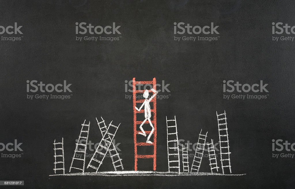 Stick Figure Climbing Ladder Of Success stock photo