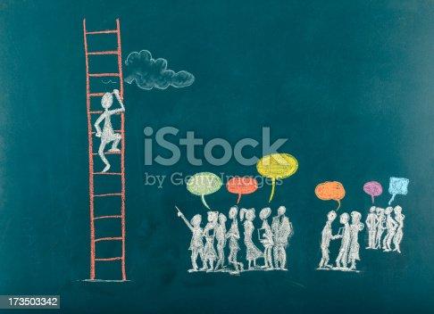 1127097479istockphoto Stick Figure Climbing Ladder To Success 173503342