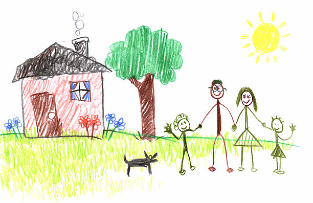 stick figure family - stick figure stock photos and pictures