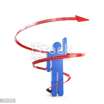 1062884120istockphoto A 3D stick figure in the middle of a red arrow 93533660