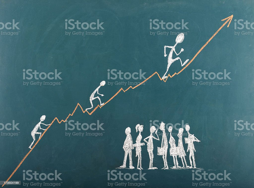 Stick Figures Climbing The Ladder To Success royalty-free stock photo