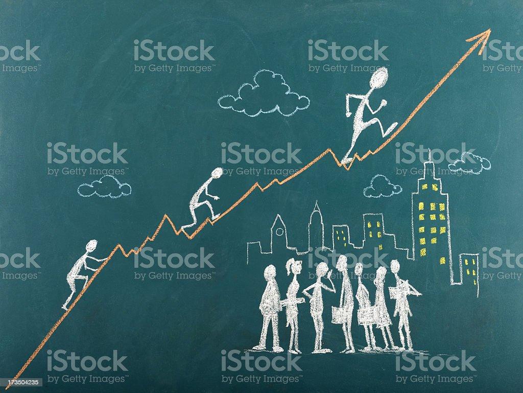 Stick figura subindo A Escada do Sucesso - foto de acervo