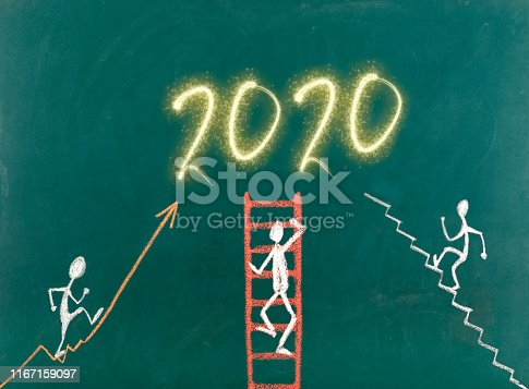 Stick figures climbing toward new year 2020