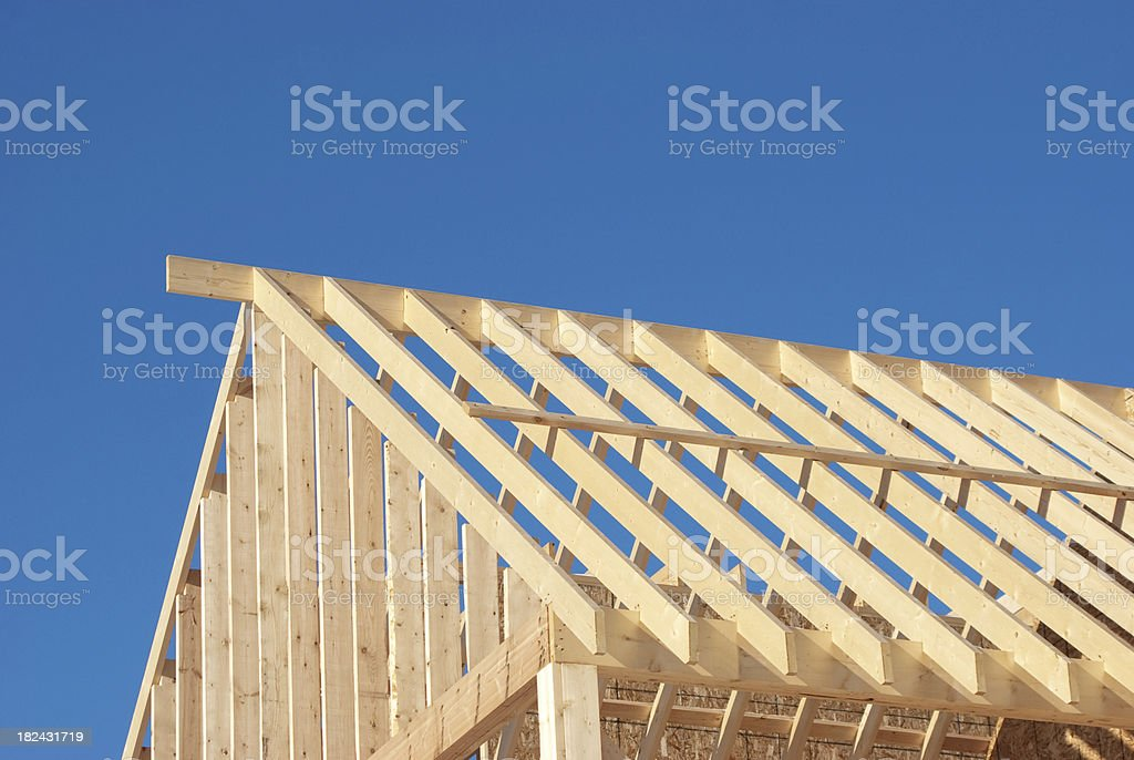 Stick Framing Roof Construction stock photo