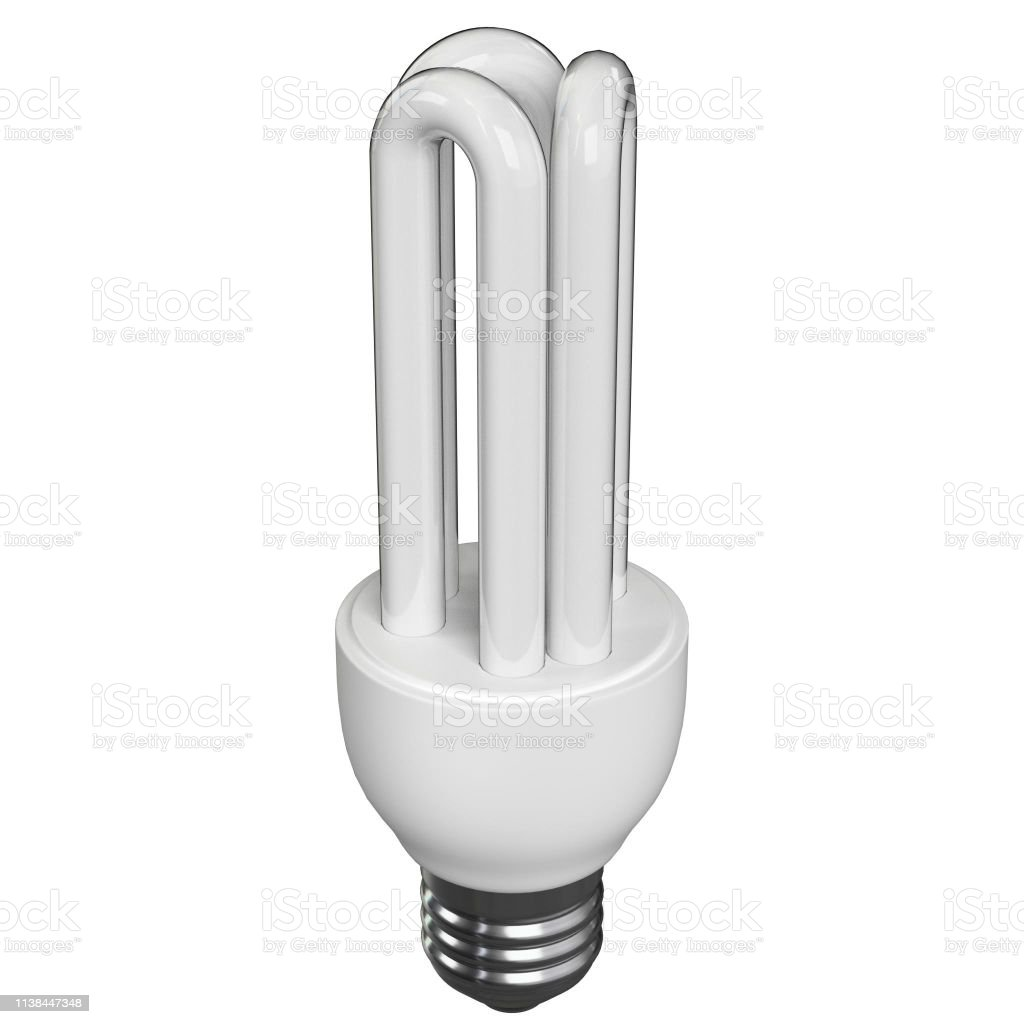 CFL stick lamp on a white background - foto stock