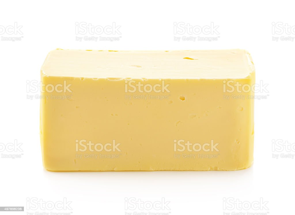 Stick of butter isolated on white background stock photo