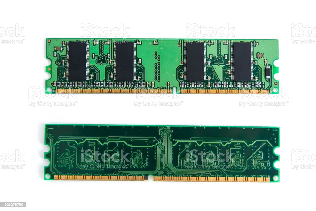 RAM Stick of computer (random access memory) isolated on white. with clipping path stock photo
