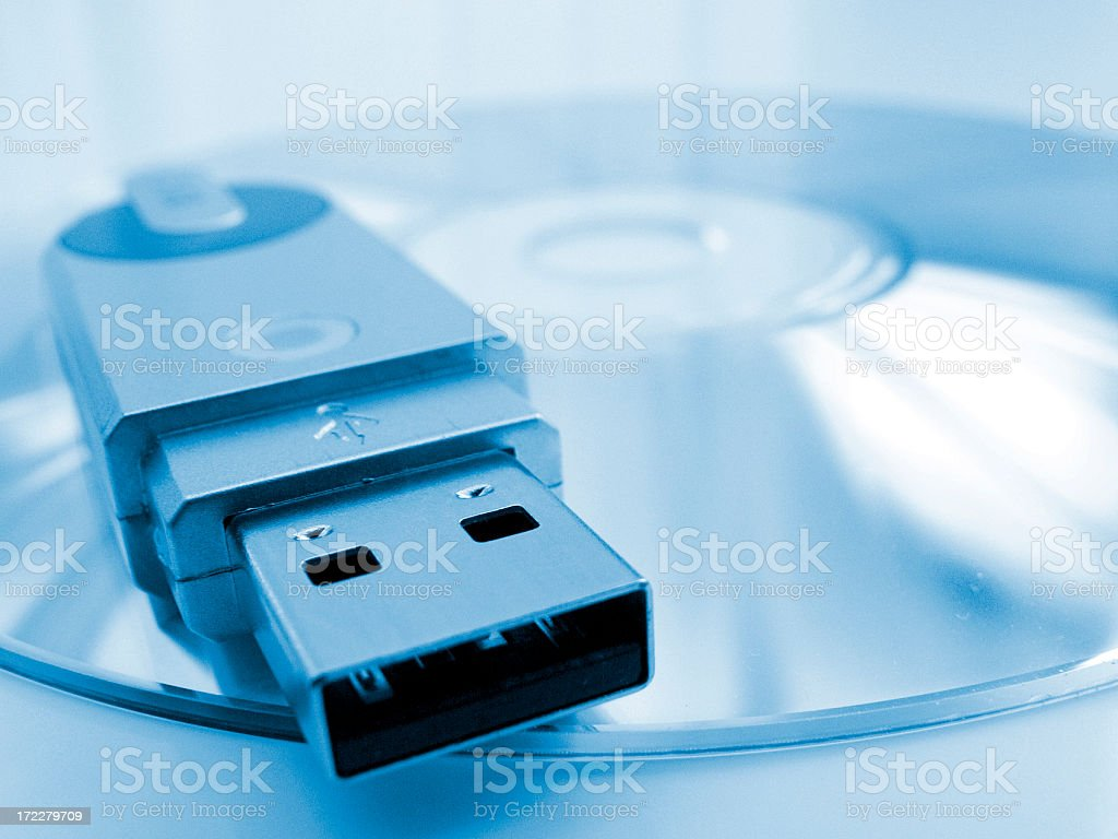 USB Stick on CD stock photo