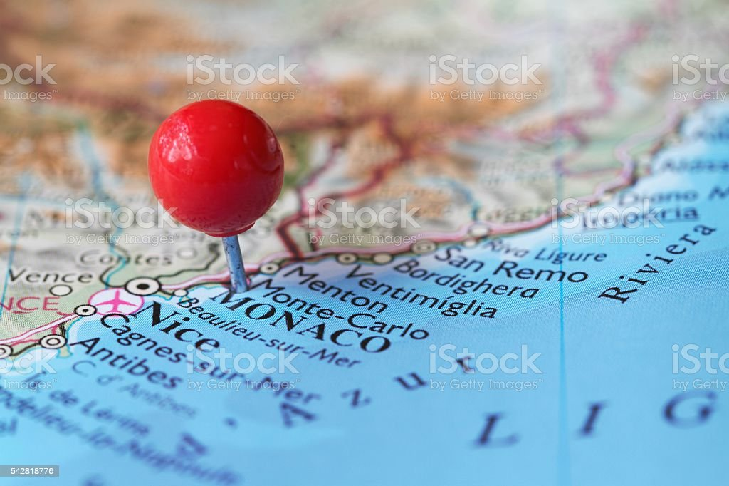 Stick Pin On Map Of Monaco And Monte Carlo Stock Photo More