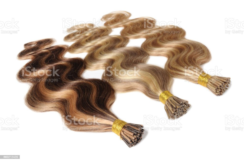 Stick Tip Body Wave Human Hair Extensions Bundles Stock Photo More