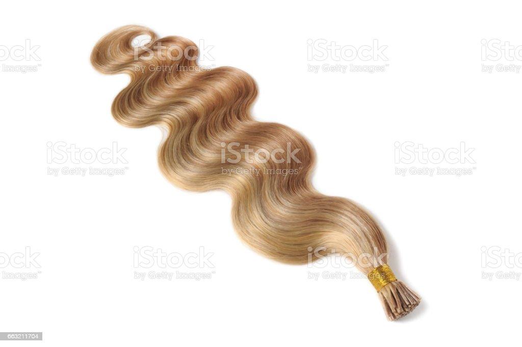 Dica de vara mistura marrom luz de corpo onda feixes de extensões de cabelo humano loiro - foto de acervo