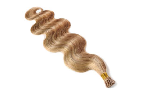 stick spitze körper welle licht braunmeliert blondes echthaar-extensions-bundles - haarverlängerung stock-fotos und bilder