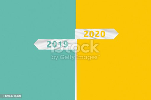 istock Stick with flags showing 2019 and 2020 1189371008