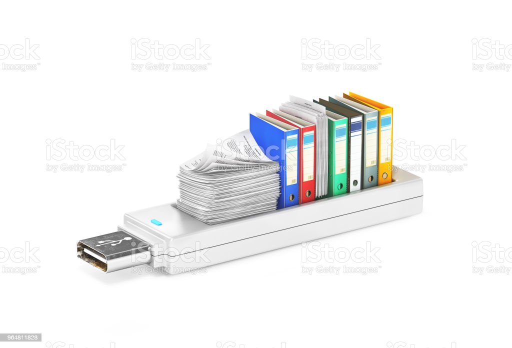 USB stick with folders for paper.3d illustration royalty-free stock photo