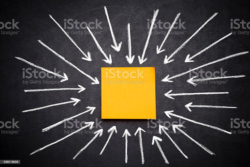 Sticker  and arrows on blackboard stock photo