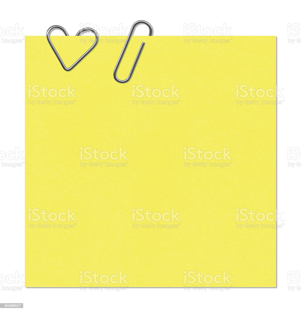 Sticker and paper clip royalty-free stock photo