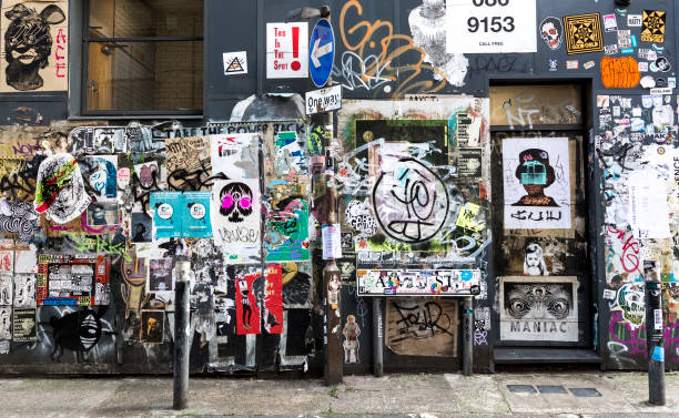 sticker art in hackney - punk music stock photos and pictures