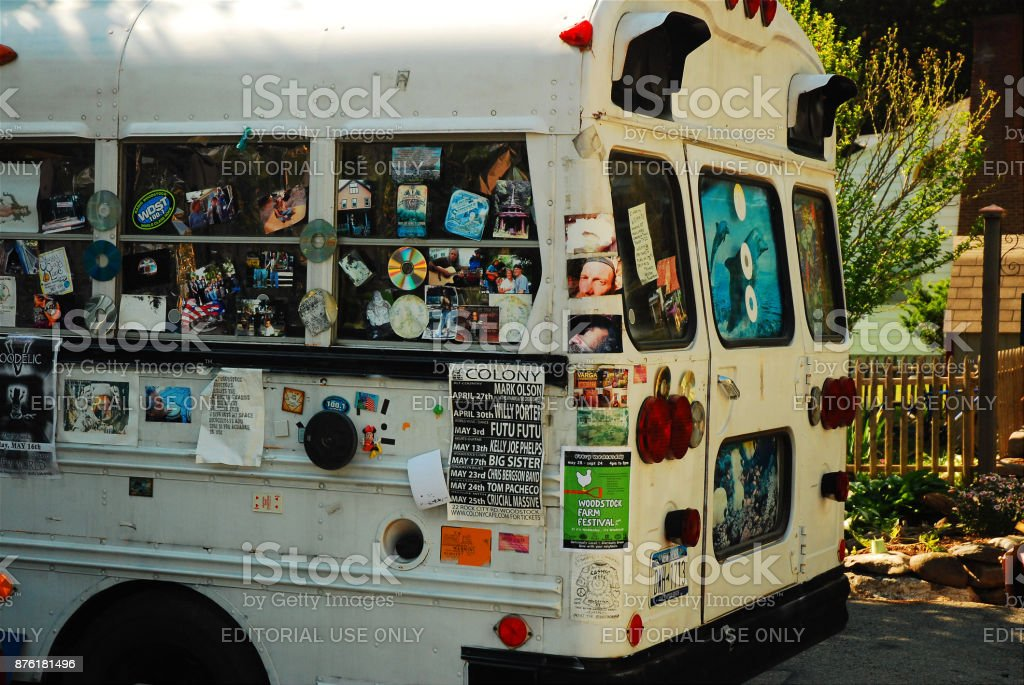 A sticker clad school bus stock photo