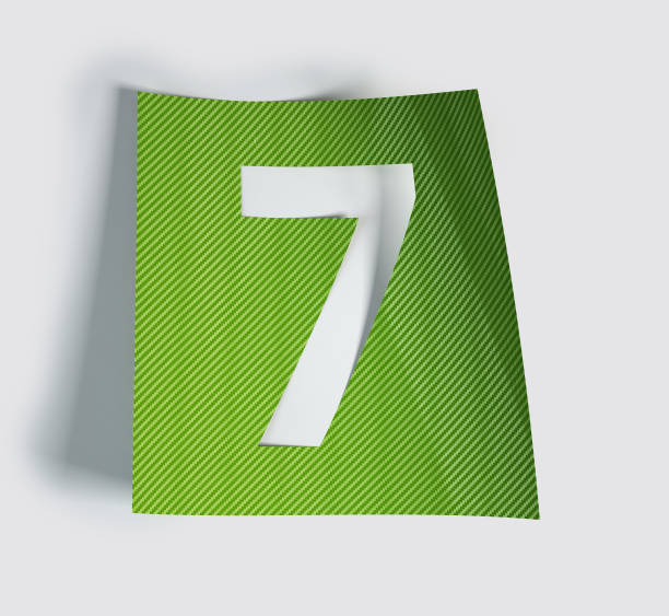 Sticker Font Made Of Cut Out Glossy Paper. Number 7 stock photo