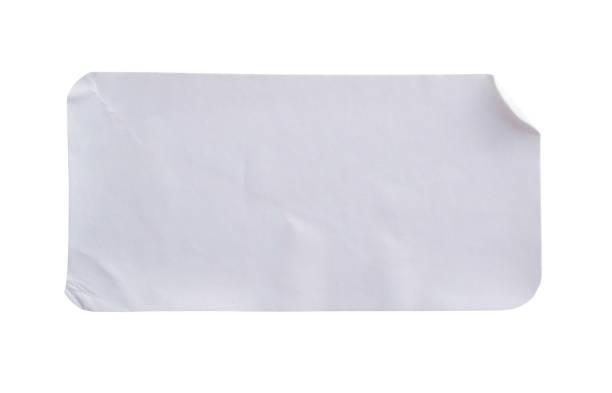 aufkleber label isoliert auf weißem hintergrund mit beschneidungspfad - aufkleber stock-fotos und bilder