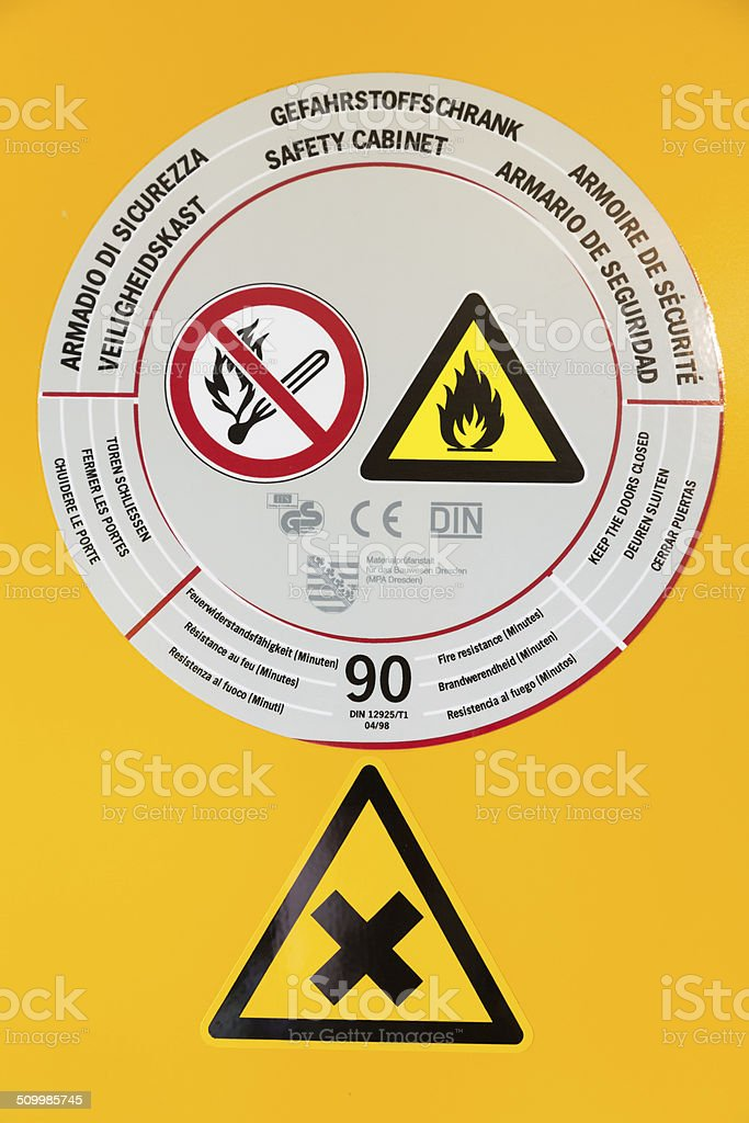 Sticker on safety cabinet for chemicals stock photo