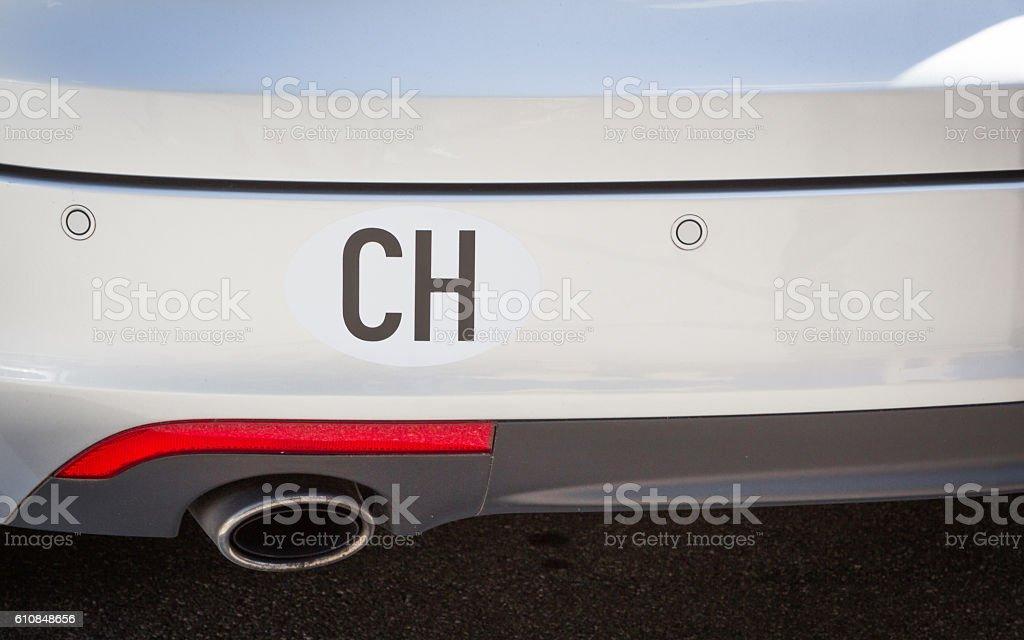 Sticker Swiss on luxury car stock photo