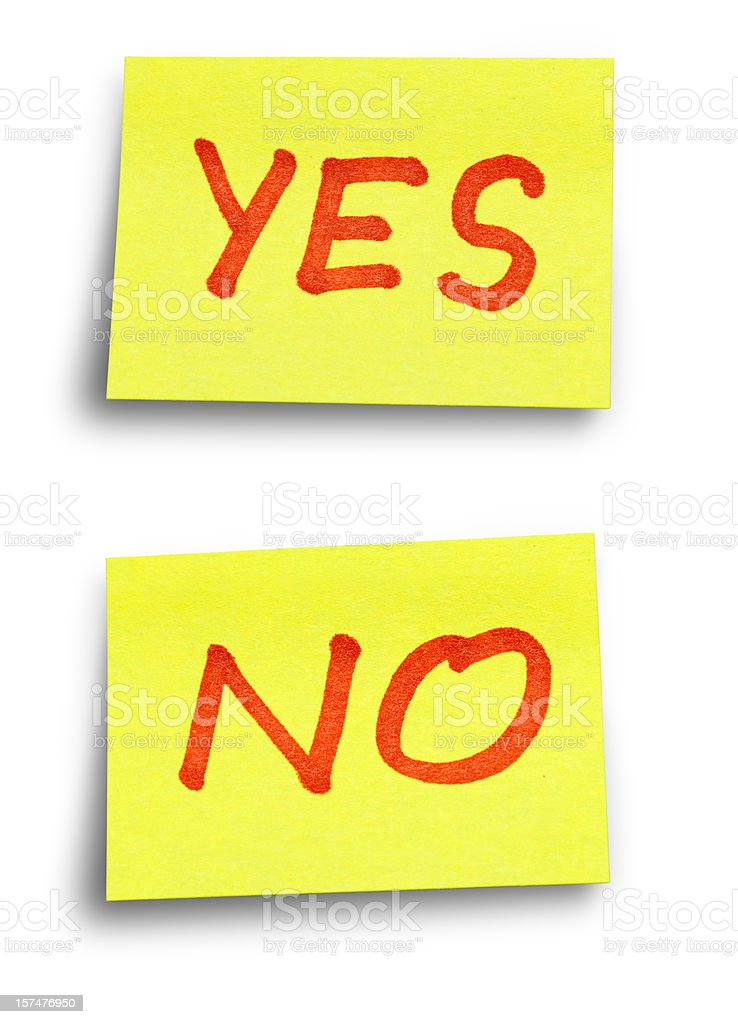 YES NO stickers with Clipping Paths royalty-free stock photo