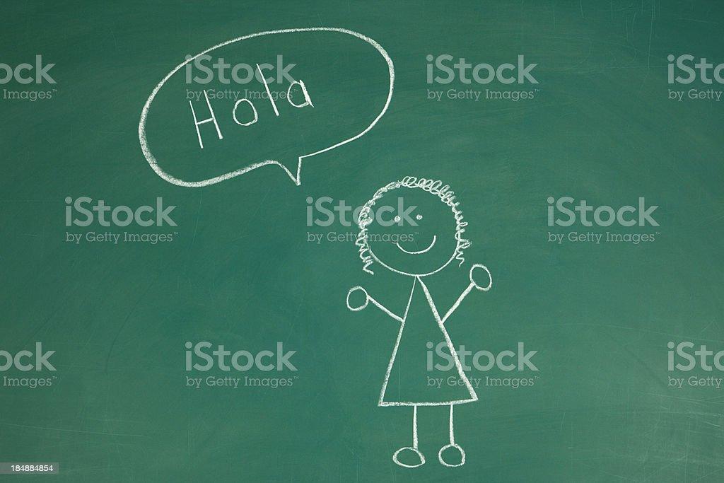 Stickfigure saying Hello in Spanish Chalk Drawing stock photo