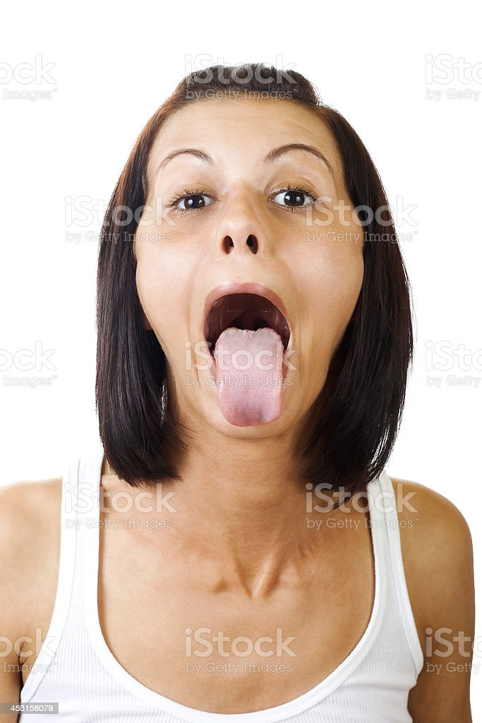 Sticking out tongue stock photo