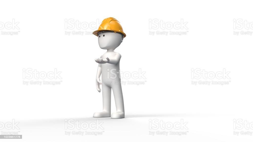 3D stickman bouwvakker foto