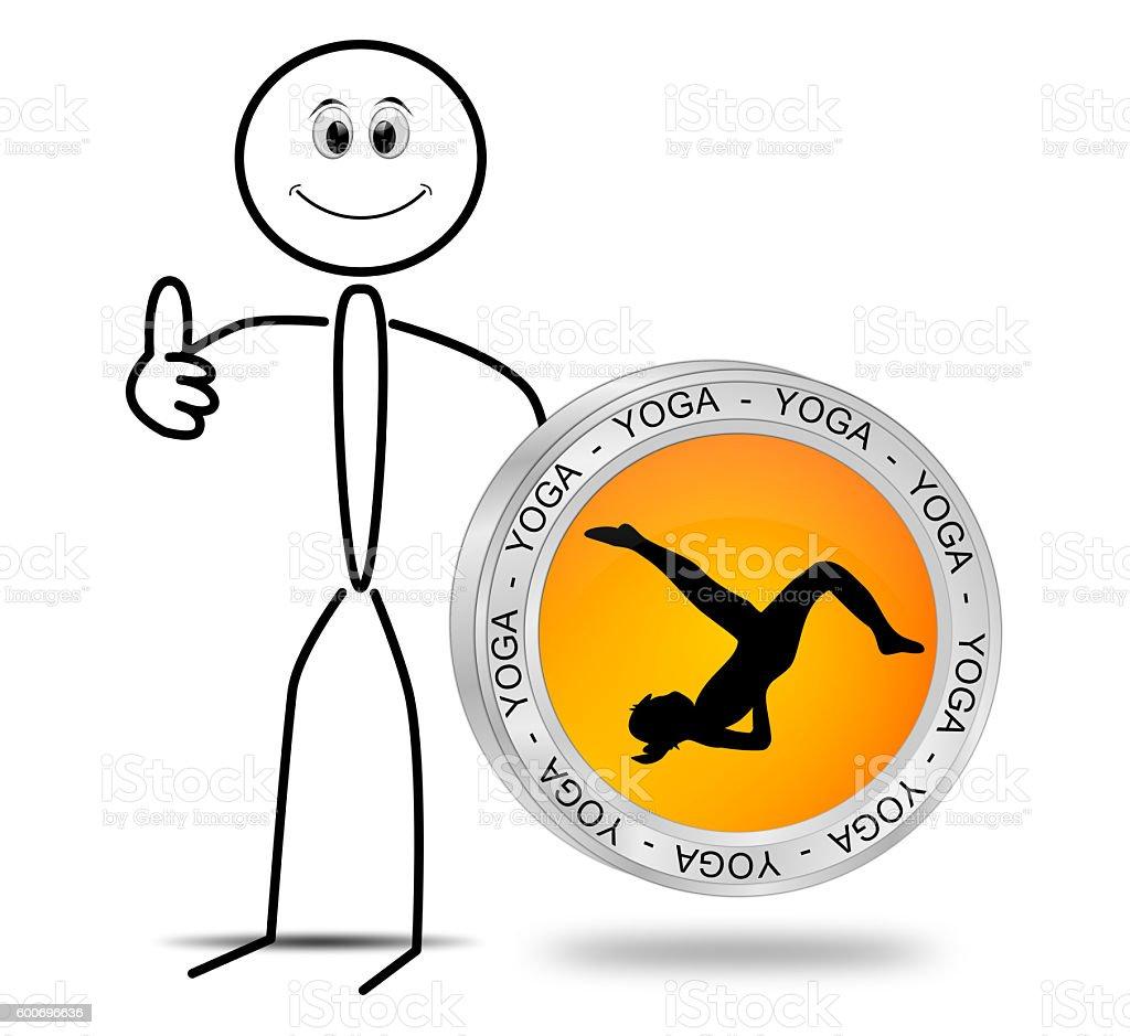 Stickman with Yoga button - 3D illustration stock photo