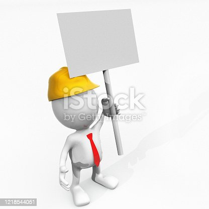 istock 3D Stickman worker and banner 1218544051