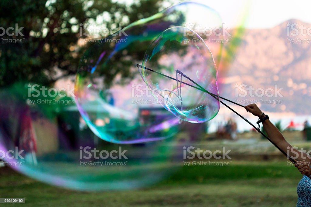 Sticks and thread bubbles stock photo