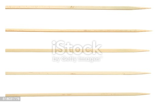 sticks for canape and kebab isolated on white background