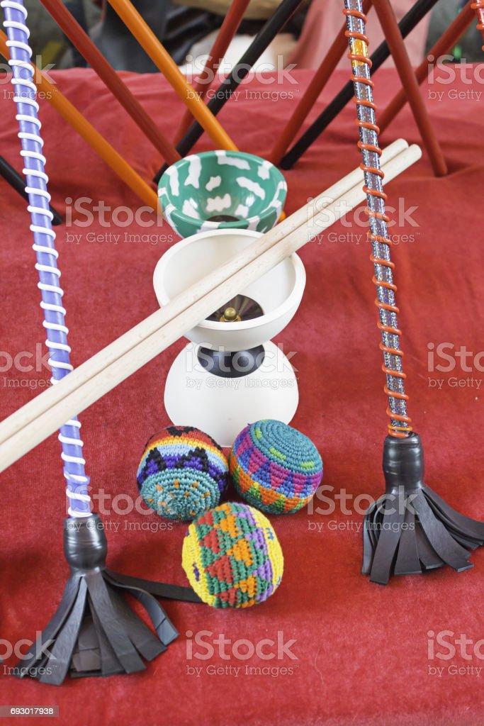 Sticks juggling and diabolo stock photo