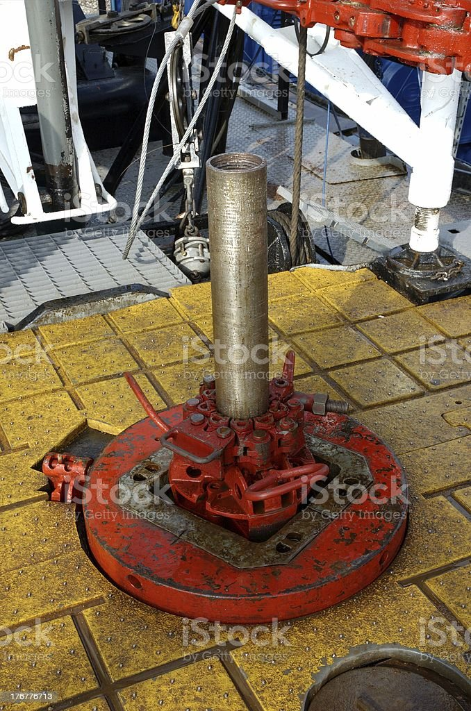 Stickup in rotary table on an oil rig stock photo