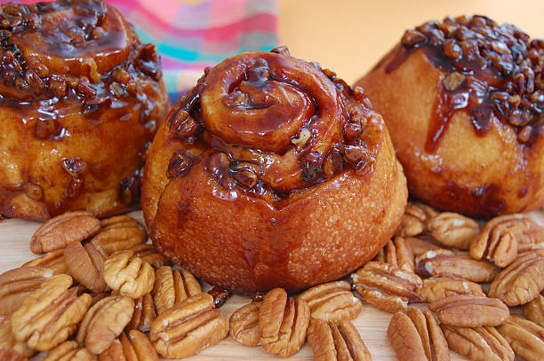 sticky buns - sticky stock pictures, royalty-free photos & images