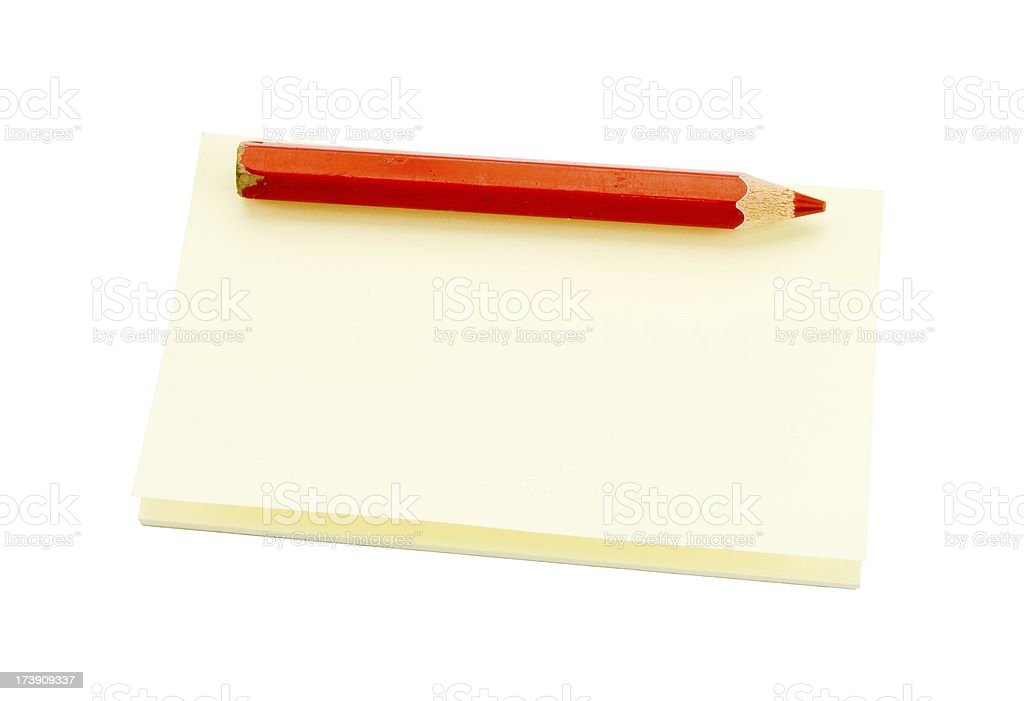 Sticky nite with a red pen royalty-free stock photo