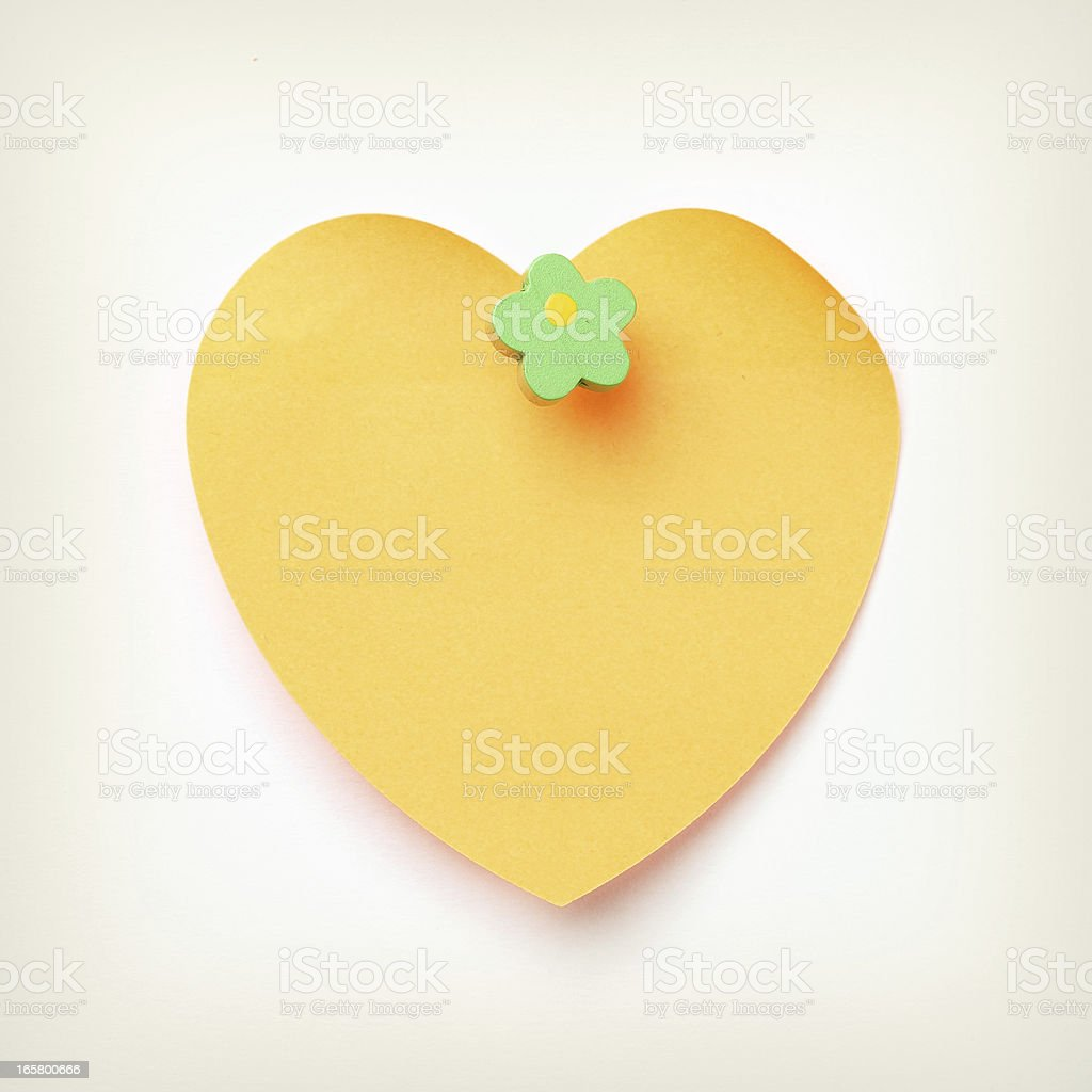 sticky note and thumbtack royalty-free stock photo